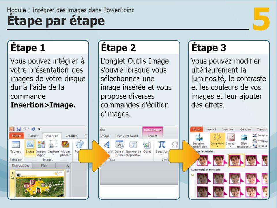 5 Étape 1 Vous pouvez intégrer à votre présentation des images de votre disque dur à l aide de la commande Insertion>Image.