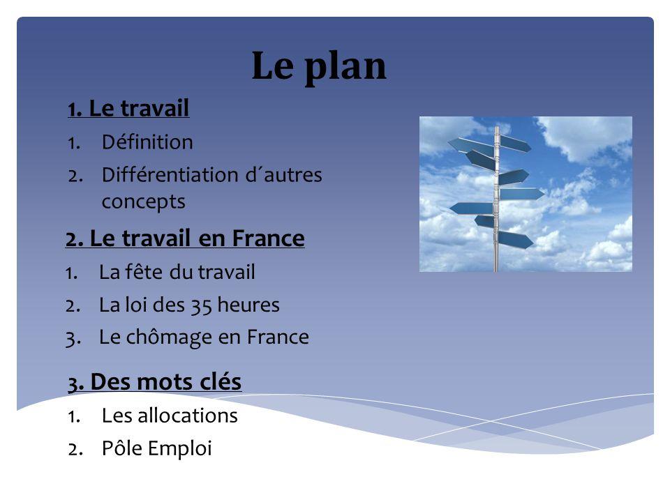 Le plan 1. Le travail 1.Définition 2.Différentiation d´autres concepts 2. Le travail en France 1.La fête du travail 2.La loi des 35 heures 3.Le chômag