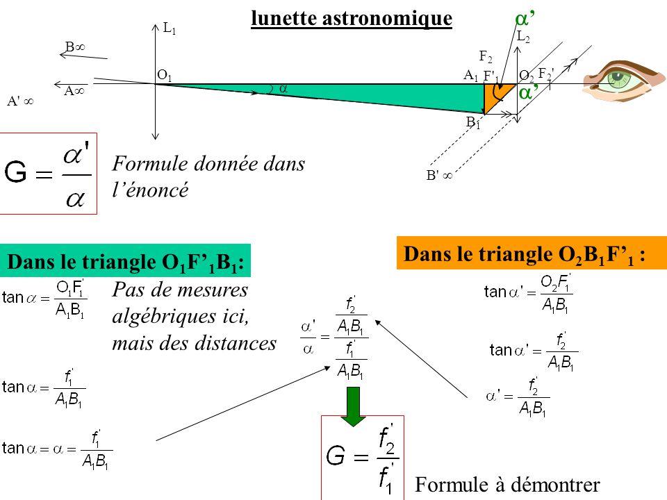 Dans le triangle O 1 F' 1 B 1 :  B∞ A∞ A' ∞ F2'F2' L1L1 O1O1 O2O2 L2L2 F' 1 B1B1 A1A1 F2F2 B' ∞ '' '' Dans le triangle O 2 B 1 F' 1 : Formule à d