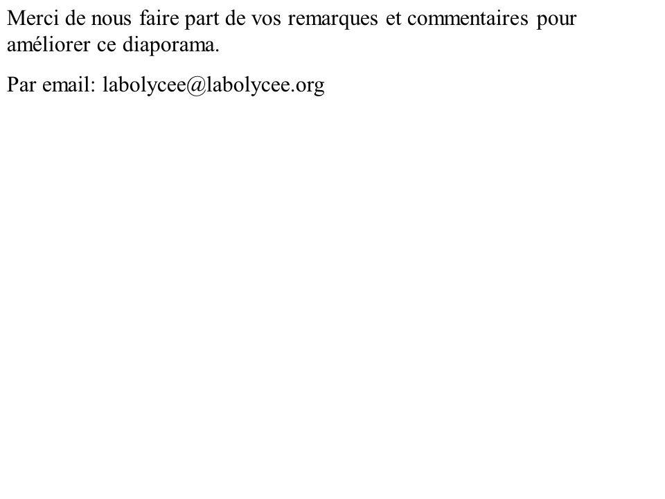 Merci de nous faire part de vos remarques et commentaires pour améliorer ce diaporama. Par email: labolycee@labolycee.org