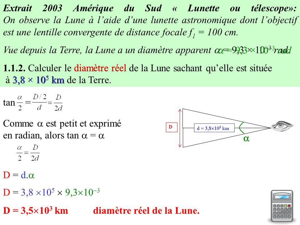 Extrait 2003 Amérique du Sud « Lunette ou télescope»: On observe la Lune à l'aide d'une lunette astronomique dont l'objectif est une lentille converge