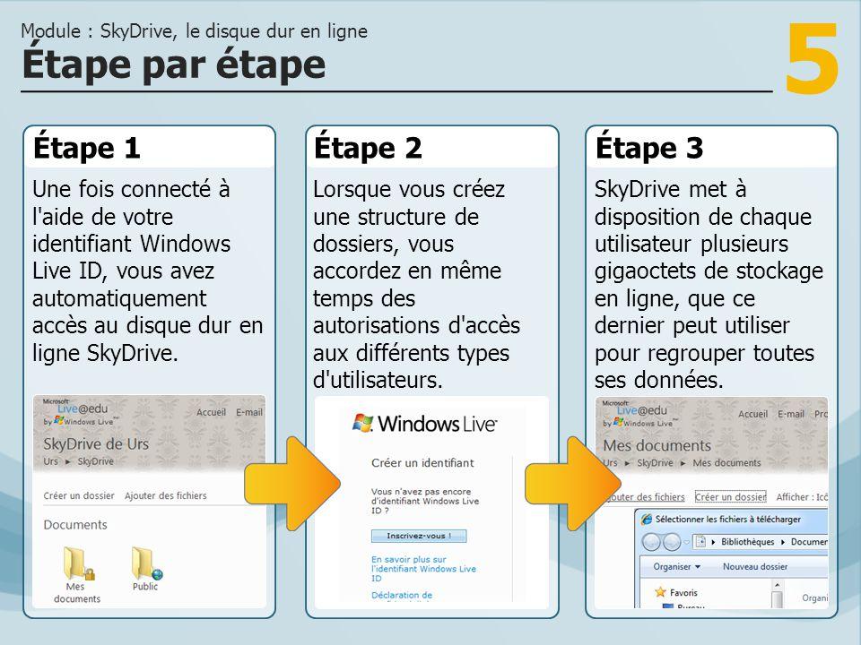 5 Étape 1 Une fois connecté à l'aide de votre identifiant Windows Live ID, vous avez automatiquement accès au disque dur en ligne SkyDrive. Étape 2Éta
