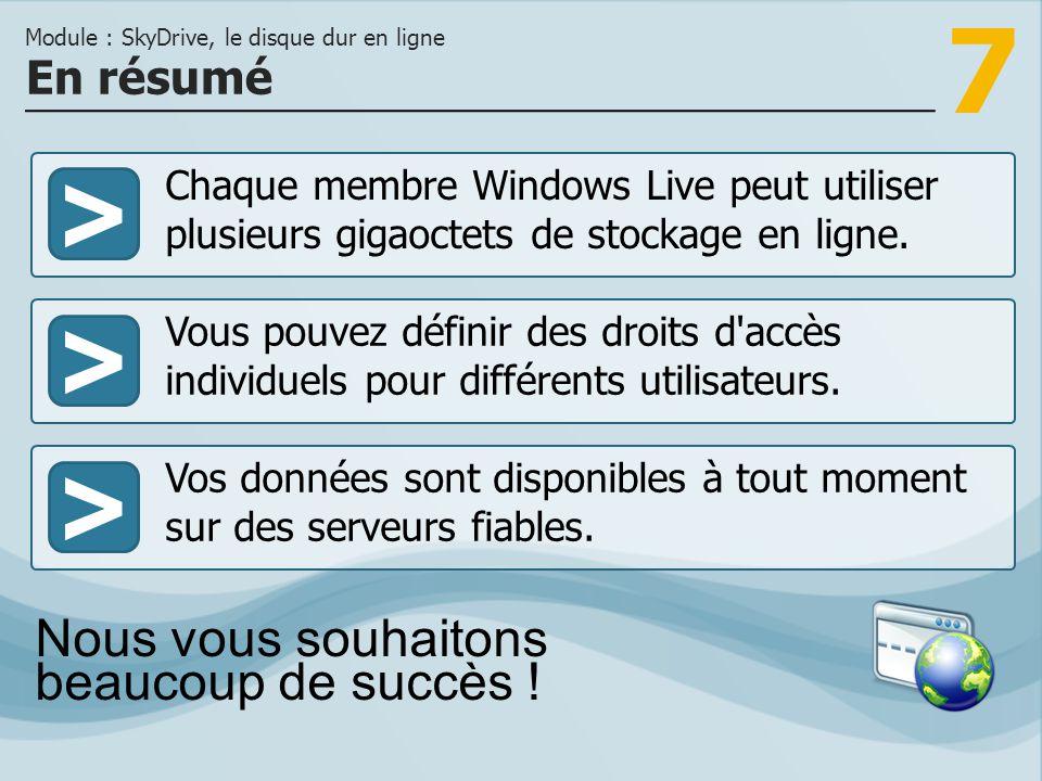 7 >>> Chaque membre Windows Live peut utiliser plusieurs gigaoctets de stockage en ligne. Vous pouvez définir des droits d'accès individuels pour diff