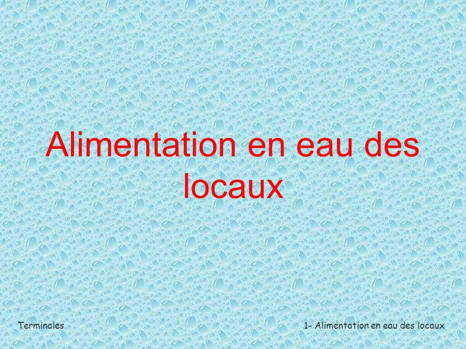 Terminales1- Alimentation en eau des locaux Introduction Utilisation de l'eau en hôtellerie-restauration Comme eau de consommation ou milieu de cuisson dans les préparations culinaires.