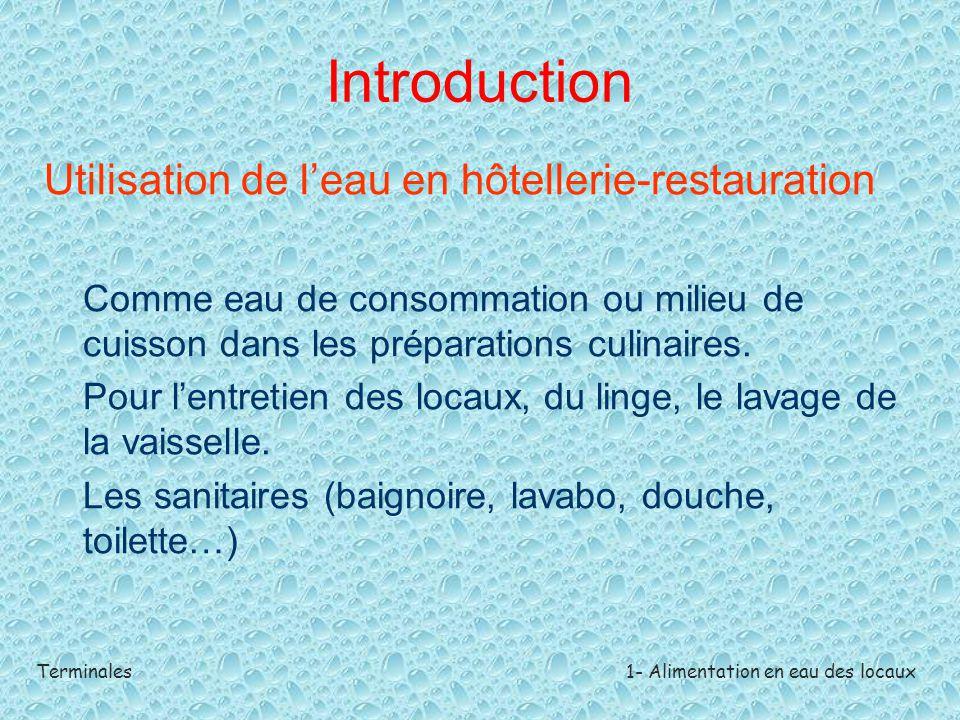 Terminales1- Alimentation en eau des locaux Introduction Utilisation de l'eau en hôtellerie-restauration Comme eau de consommation ou milieu de cuisso