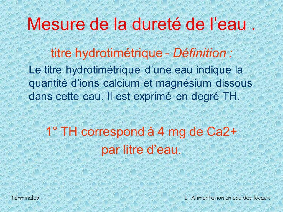 Terminales1- Alimentation en eau des locaux Mesure de la dureté de l'eau. titre hydrotimétrique - Définition : Le titre hydrotimétrique d'une eau indi