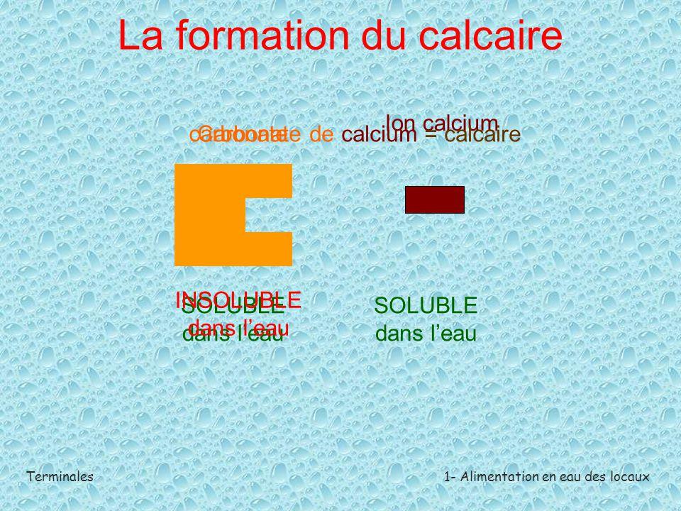 Terminales1- Alimentation en eau des locaux La formation du calcaire carbonate Ion calcium SOLUBLE dans l'eau Carbonate de calcium = calcaire INSOLUBL
