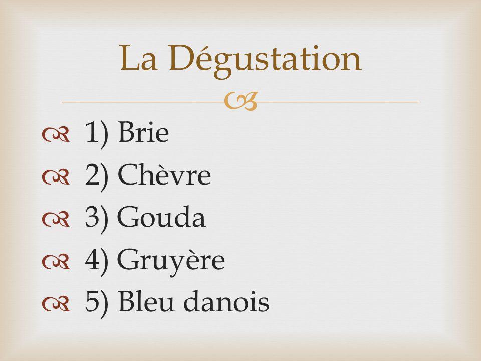   1) Brie  2) Chèvre  3) Gouda  4) Gruyère  5) Bleu danois La Dégustation
