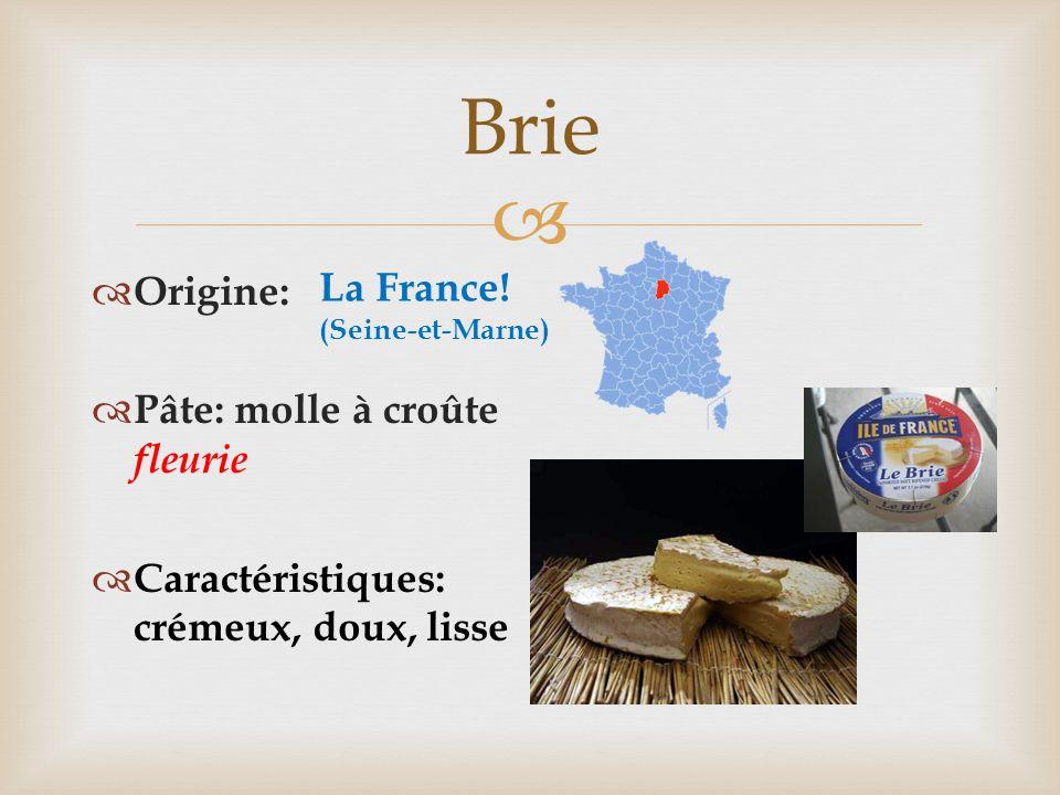   Origine:  Pâte: molle à croûte fleurie  Caractéristiques: crémeux, doux, lisse Brie La France! (Seine-et-Marne)