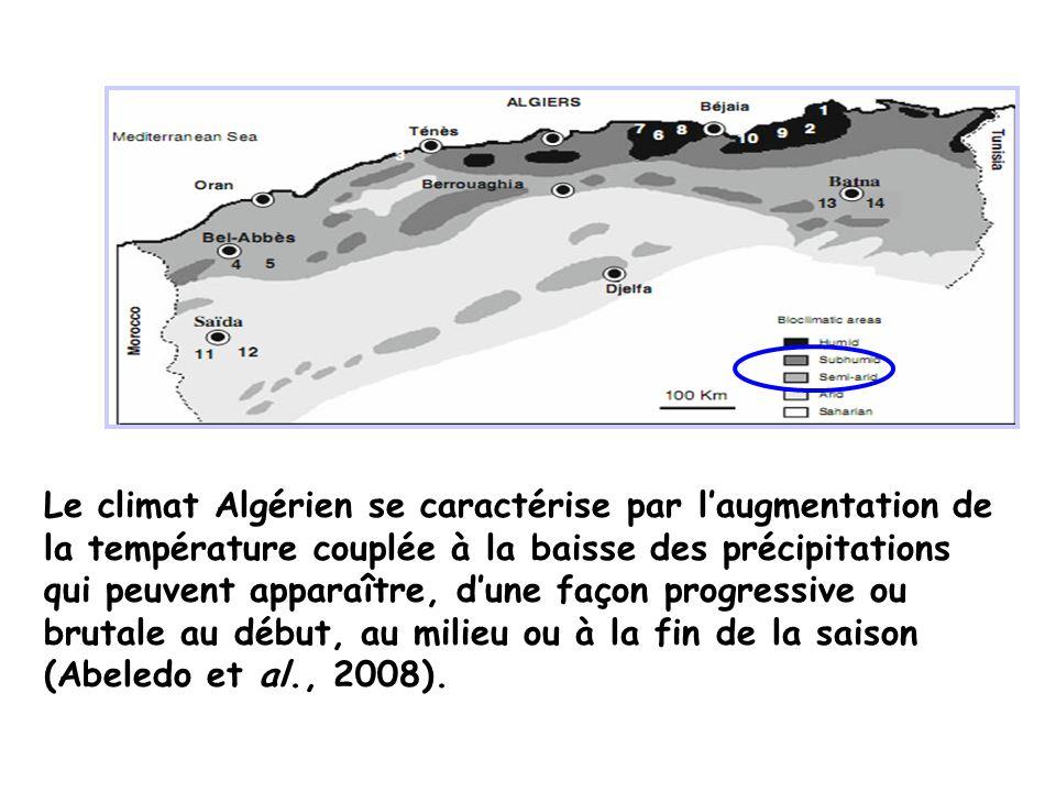 Le climat Algérien se caractérise par l'augmentation de la température couplée à la baisse des précipitations qui peuvent apparaître, d'une façon progressive ou brutale au début, au milieu ou à la fin de la saison (Abeledo et al., 2008).
