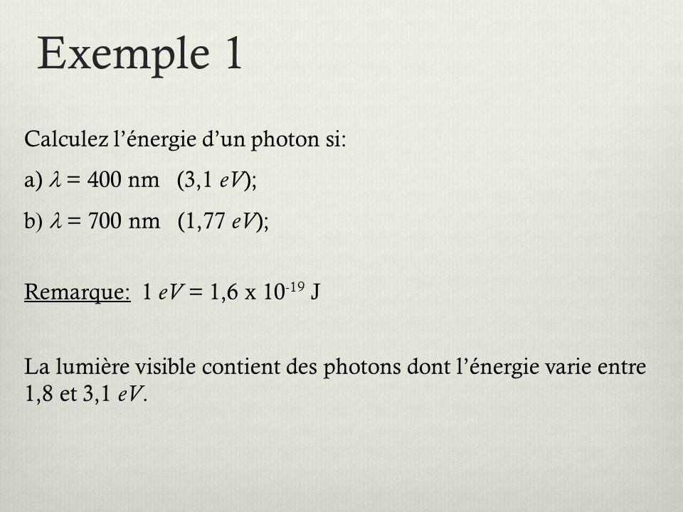 Exemple 1 Calculez l'énergie d'un photon si: a) = 400 nm (3,1 eV ); b  = 700 nm (1,77 eV ); Remarque: 1 eV = 1,6 x 10 -19 J La lumière visible contient des photons dont l'énergie varie entre 1,8 et 3,1 eV.