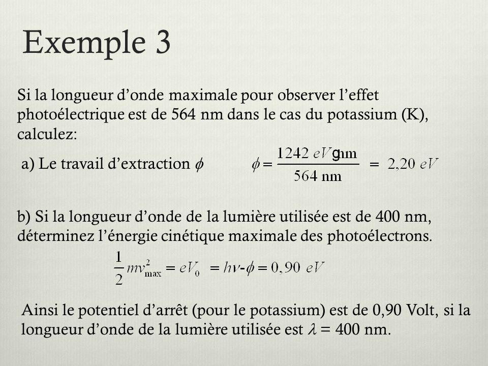 Exemple 3 Si la longueur d'onde maximale pour observer l'effet photoélectrique est de 564 nm dans le cas du potassium (K), calculez: a) Le travail d'extraction  b) Si la longueur d'onde de la lumière utilisée est de 400 nm, déterminez l'énergie cinétique maximale des photoélectrons.
