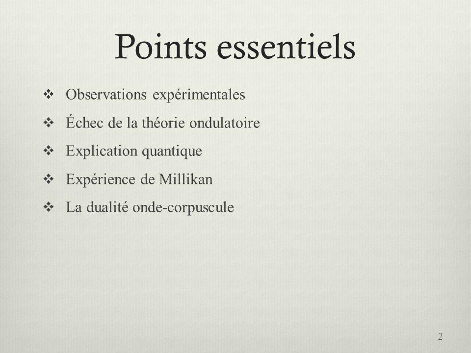 Points essentiels  Observations expérimentales  Échec de la théorie ondulatoire  Explication quantique  Expérience de Millikan  La dualité onde-corpuscule 2