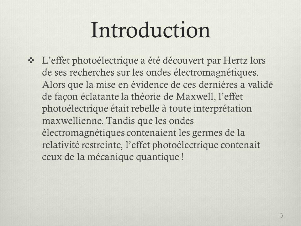 Introduction  L'effet photoélectrique a été découvert par Hertz lors de ses recherches sur les ondes électromagnétiques.