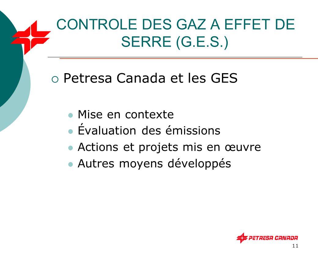 11 CONTROLE DES GAZ A EFFET DE SERRE (G.E.S.)  Petresa Canada et les GES Mise en contexte Évaluation des émissions Actions et projets mis en œuvre Au