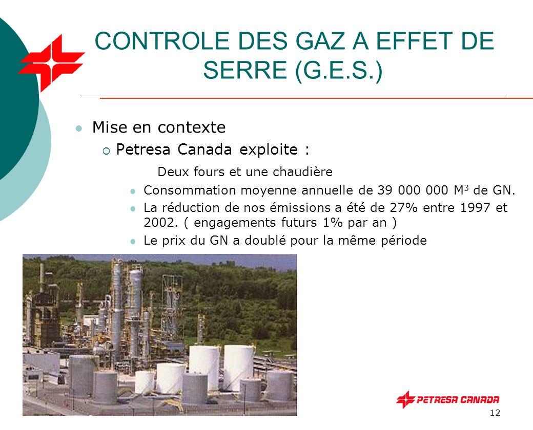 12 CONTROLE DES GAZ A EFFET DE SERRE (G.E.S.) Mise en contexte  Petresa Canada exploite : Deux fours et une chaudière Consommation moyenne annuelle d