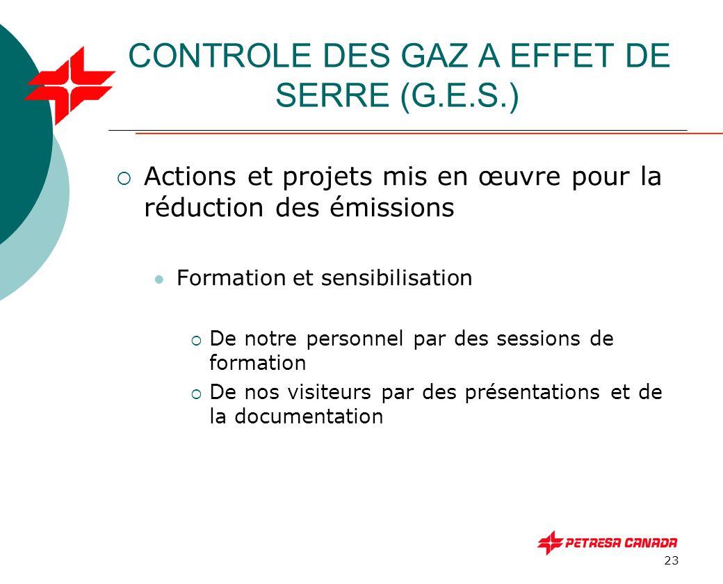 23 CONTROLE DES GAZ A EFFET DE SERRE (G.E.S.)  Actions et projets mis en œuvre pour la réduction des émissions Formation et sensibilisation  De notr