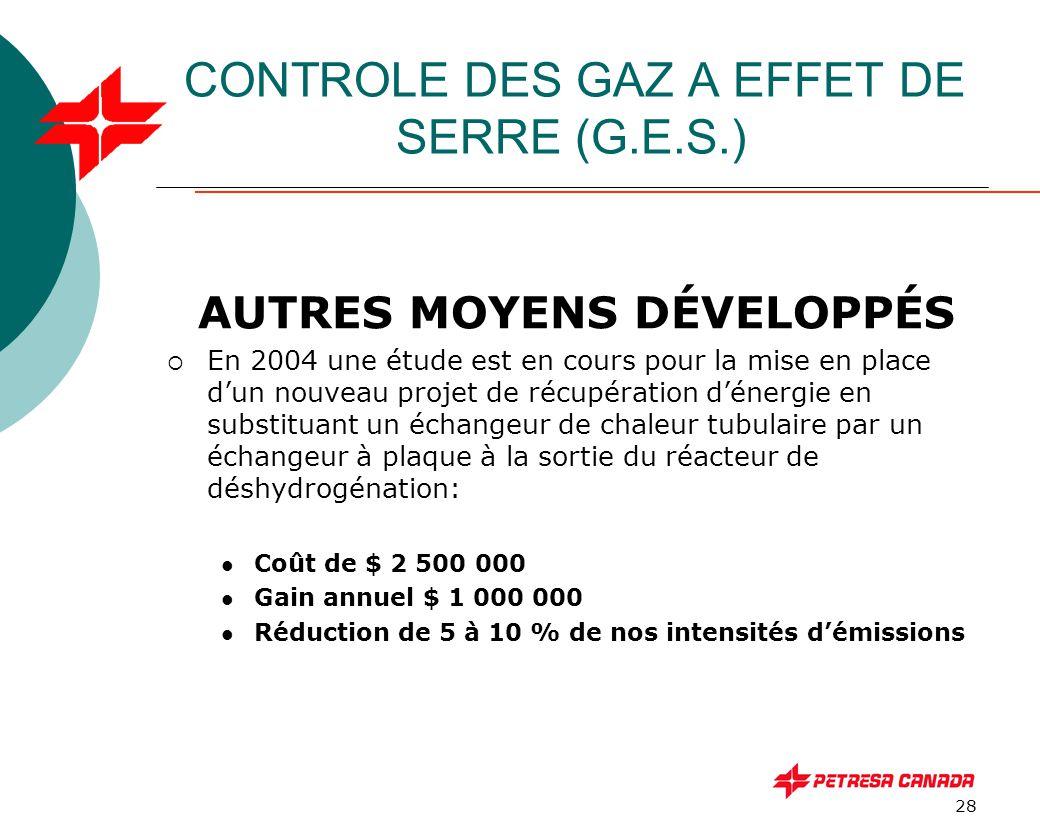 28 CONTROLE DES GAZ A EFFET DE SERRE (G.E.S.) AUTRES MOYENS DÉVELOPPÉS  En 2004 une étude est en cours pour la mise en place d'un nouveau projet de r