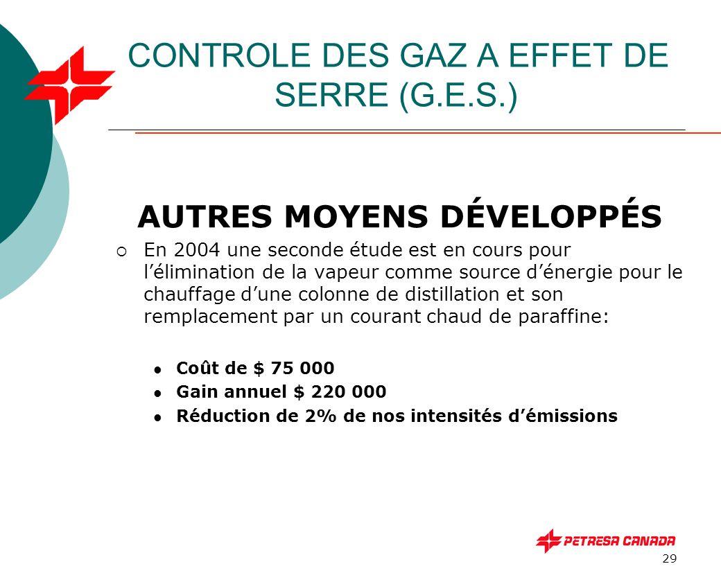 29 CONTROLE DES GAZ A EFFET DE SERRE (G.E.S.) AUTRES MOYENS DÉVELOPPÉS  En 2004 une seconde étude est en cours pour l'élimination de la vapeur comme
