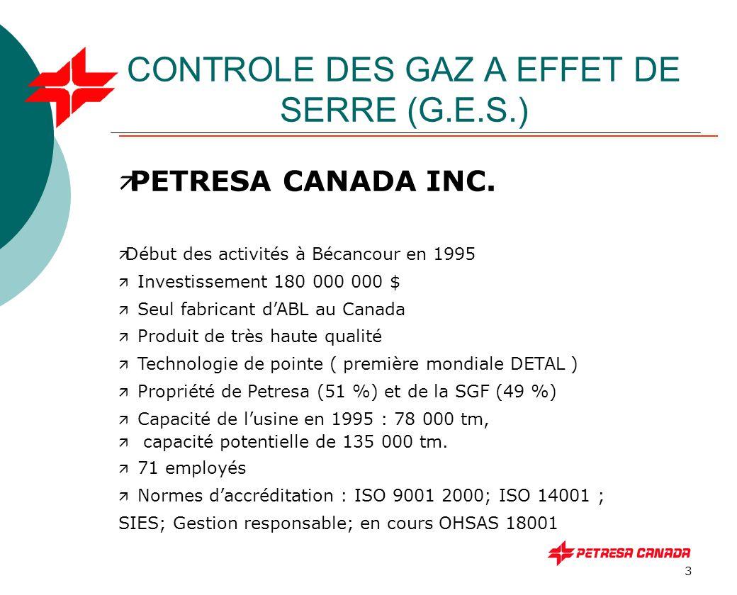 14 CONTROLE DES GAZ A EFFET DE SERRE (G.E.S.) Évaluation des émissions COMBUSTIBLE GAZ A EFFET DE SERRE ( Facteurs Environnement Canada) CO 2 CH 4 N2ON2O Gaz naturel 1,891 Kg/m 3 37.10 -6 Kg/m 3 33.10 -6 Kg/m 3 Mazout léger 2,83 Kg/l6.10 -6 Kg/l31.10 -6 Kg/l Essence voit.