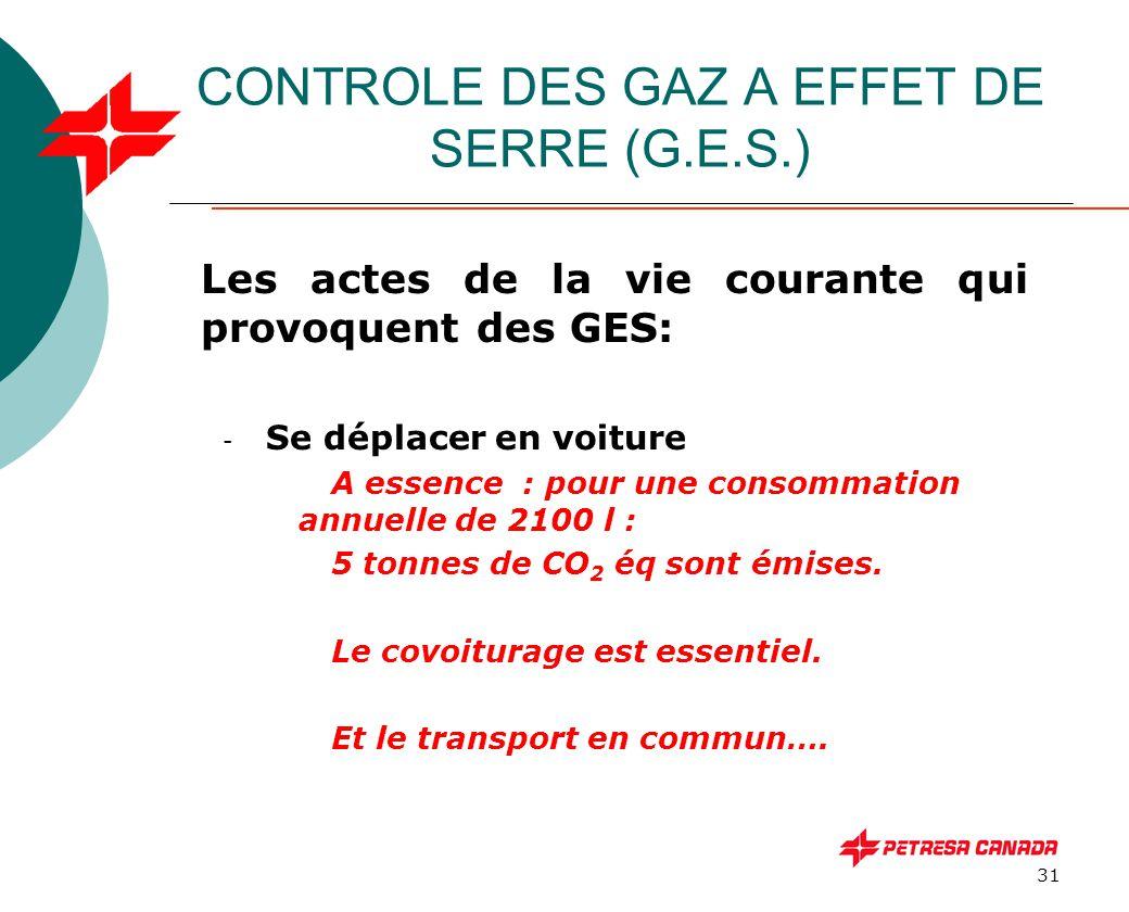 31 CONTROLE DES GAZ A EFFET DE SERRE (G.E.S.) Les actes de la vie courante qui provoquent des GES: - Se déplacer en voiture A essence : pour une conso