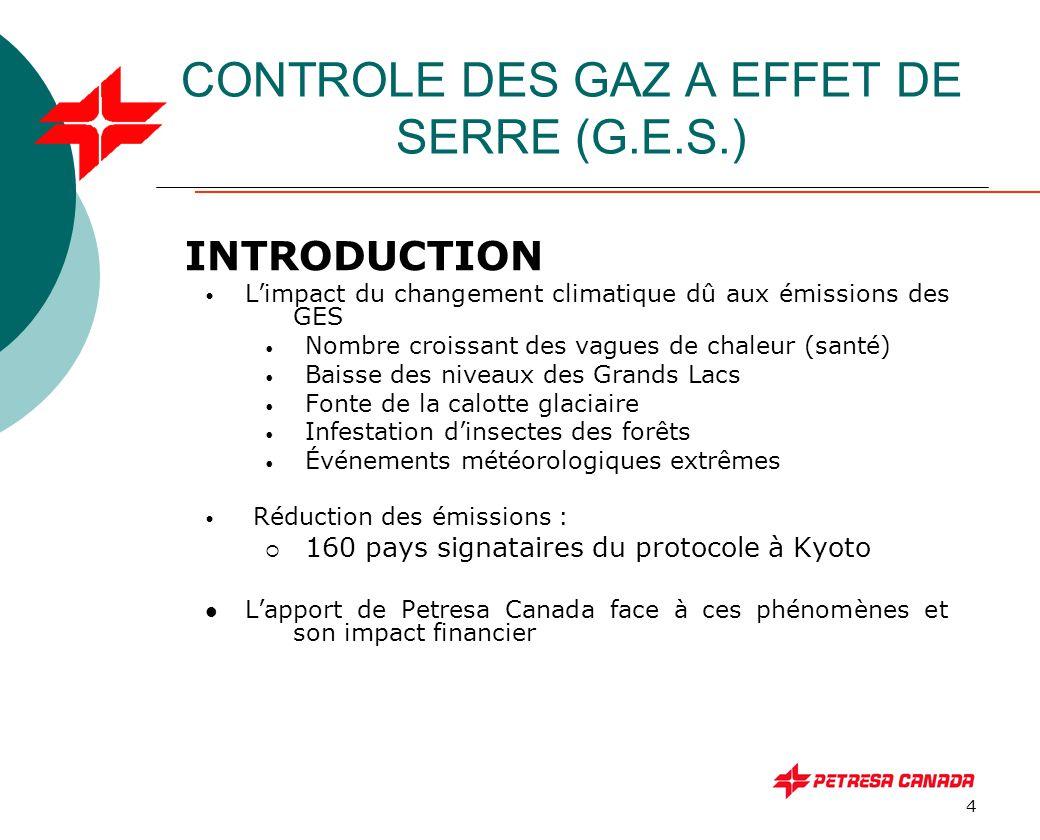 5 CONTROLE DES GAZ A EFFET DE SERRE (G.E.S.) - Les gaz à effet de serre et origine: - Le dioxyde de carbone CO 2 - Combustion des combustibles fossiles et le déboisement - L'oxyde nitreux N 2 O - Utilisation des engrais et combustibles fossiles - Le méthane CH 4 - Rejet des lieux d'enfouissement, eaux usées, bétail en pâturage - Les fluorocarbones ( FC ) - Non naturels produits par certains procédés industriels