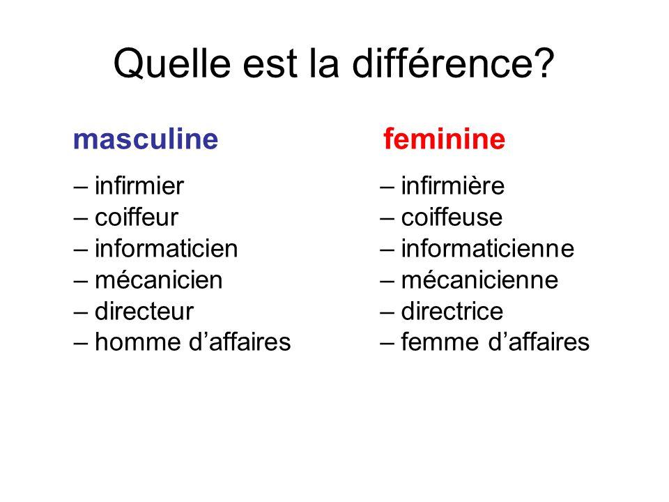 Quelle est la différence? masculine –infirmier –coiffeur –informaticien –mécanicien –directeur –homme d'affaires feminine –infirmière –coiffeuse –info
