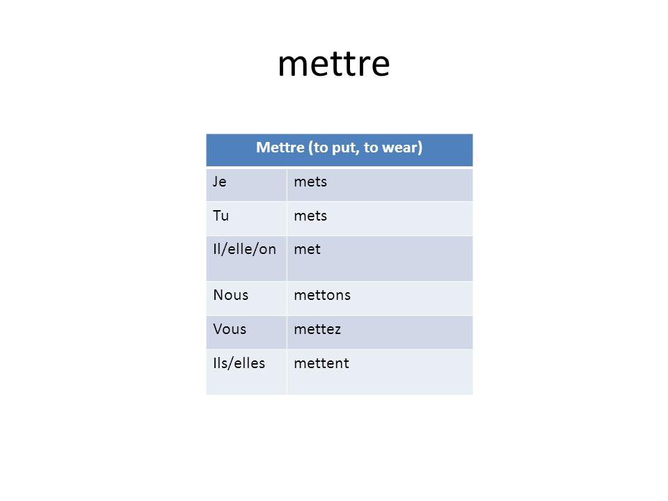 mettre Mettre (to put, to wear) Jemets Tumets Il/elle/onmet Nousmettons Vousmettez Ils/ellesmettent