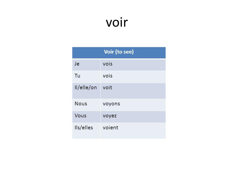 voir Voir (to see) Jevois Tuvois Il/elle/onvoit Nousvoyons Vousvoyez Ils/ellesvoient