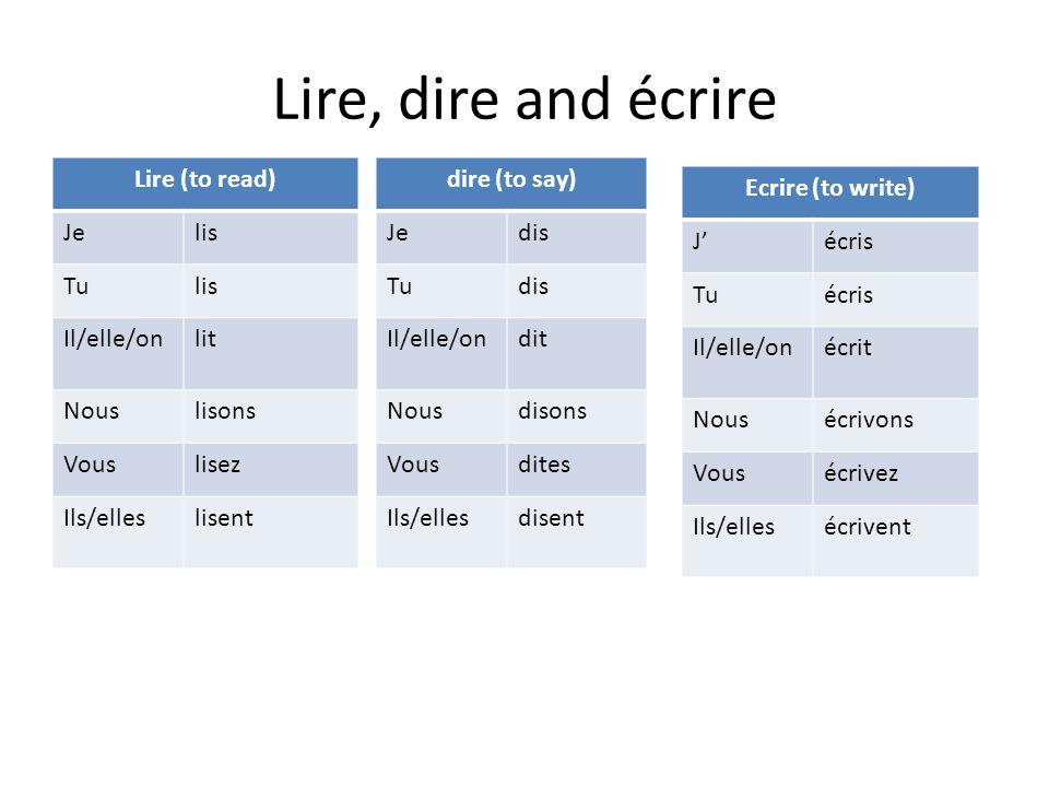 Lire, dire and écrire Lire (to read) Jelis Tulis Il/elle/onlit Nouslisons Vouslisez Ils/elleslisent dire (to say) Jedis Tudis Il/elle/ondit Nousdisons