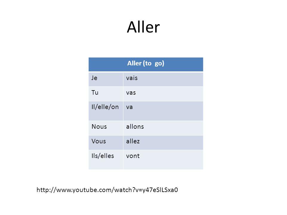 Aller Aller (to go) Jevais Tuvas Il/elle/onva Nousallons Vousallez Ils/ellesvont http://www.youtube.com/watch v=y47eSlLSxa0