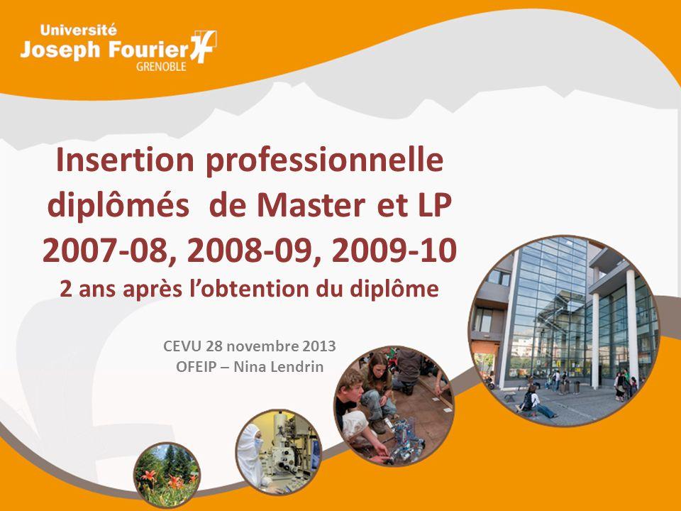 Insertion professionnelle diplômés de Master et LP 2007-08, 2008-09, 2009-10 2 ans après l'obtention du diplôme CEVU 28 novembre 2013 OFEIP – Nina Len