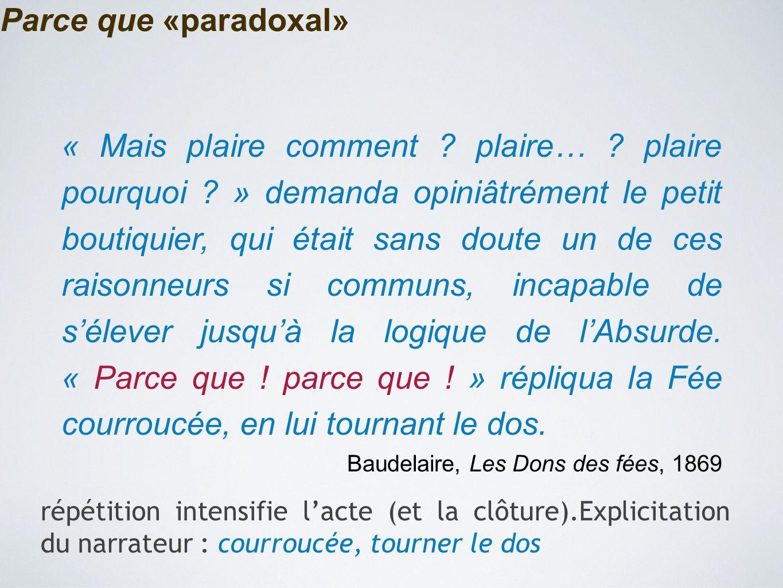 Parce que «paradoxal» « Mais plaire comment ? plaire… ? plaire pourquoi ? » demanda opiniâtrément le petit boutiquier, qui était sans doute un de ces