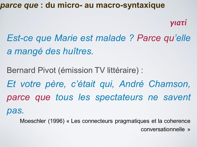 parce que : du micro- au macro-syntaxique Est-ce que Marie est malade ? Parce qu'elle a mangé des huîtres. Bernard Pivot (émission TV littéraire) : Et