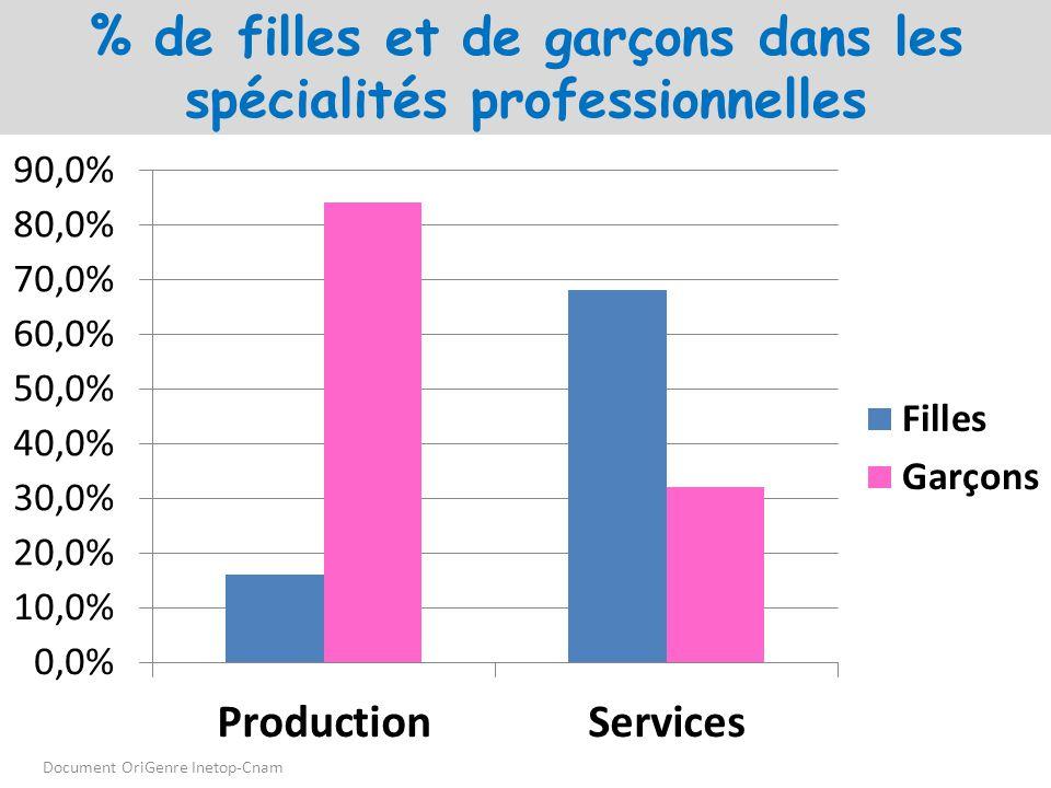 % de filles et de garçons dans les spécialités professionnelles Document OriGenre Inetop-Cnam