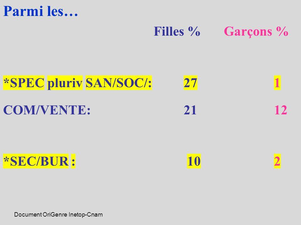 Parmi les… Filles % Garçons % *SPEC pluriv SAN/SOC/: 271 COM/VENTE: 2112 *SEC/BUR : 102 Document OriGenre Inetop-Cnam