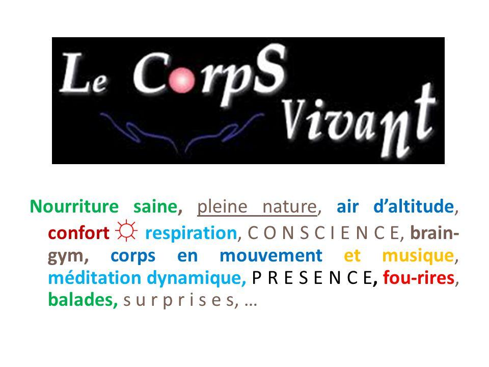 Nourriture saine, pleine nature, air d'altitude, confort ☼ respiration, C O N S C I E N C E, brain- gym, corps en mouvement et musique, méditation dyn