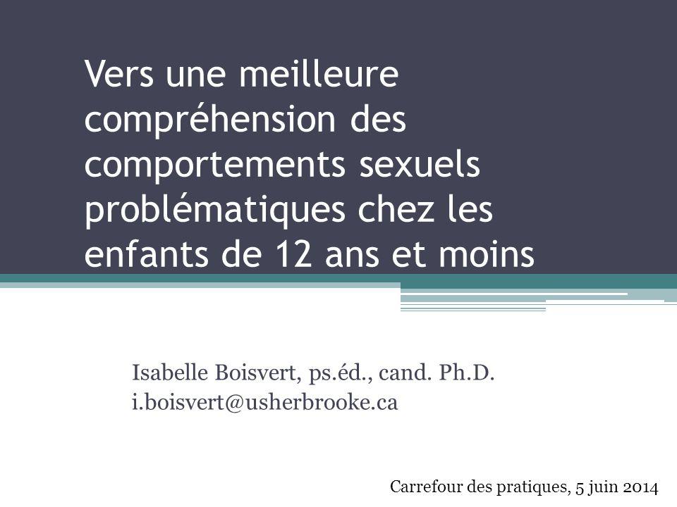 Professionnels impliqués auprès des enfants indiquent qu'ils manquent de : 1) connaissances 2) compétence 3) confiance …pour intervenir auprès d'enfants qui manifestent des comportements sexuels problématiques.