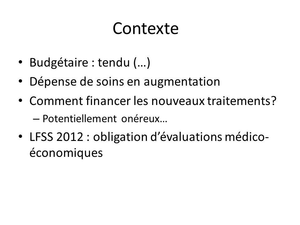 Contexte Budgétaire : tendu (…) Dépense de soins en augmentation Comment financer les nouveaux traitements? – Potentiellement onéreux… LFSS 2012 : obl
