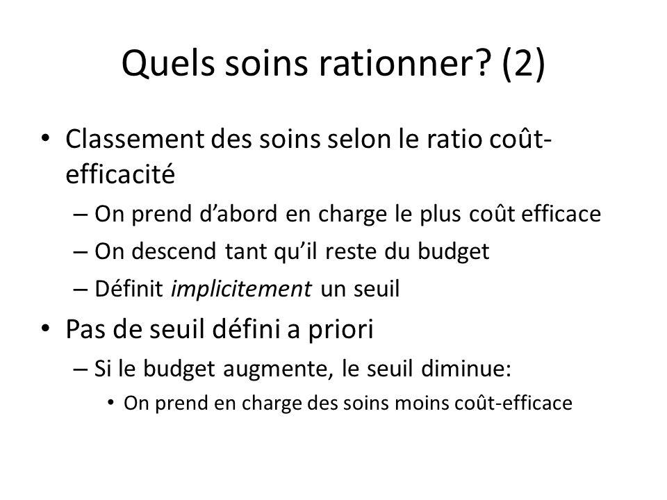 Alternative On définit un seuil – (comment?) consentement à payer… – Souvent retenu : entre 1 et 3 fois le PIB/tête – En France, 30 à 90 000 euros (par année de vie en bonne santé) – Cohérence entre les différents secteurs.