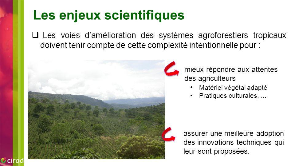  Les voies d'amélioration des systèmes agroforestiers tropicaux doivent tenir compte de cette complexité intentionnelle pour : mieux répondre aux att