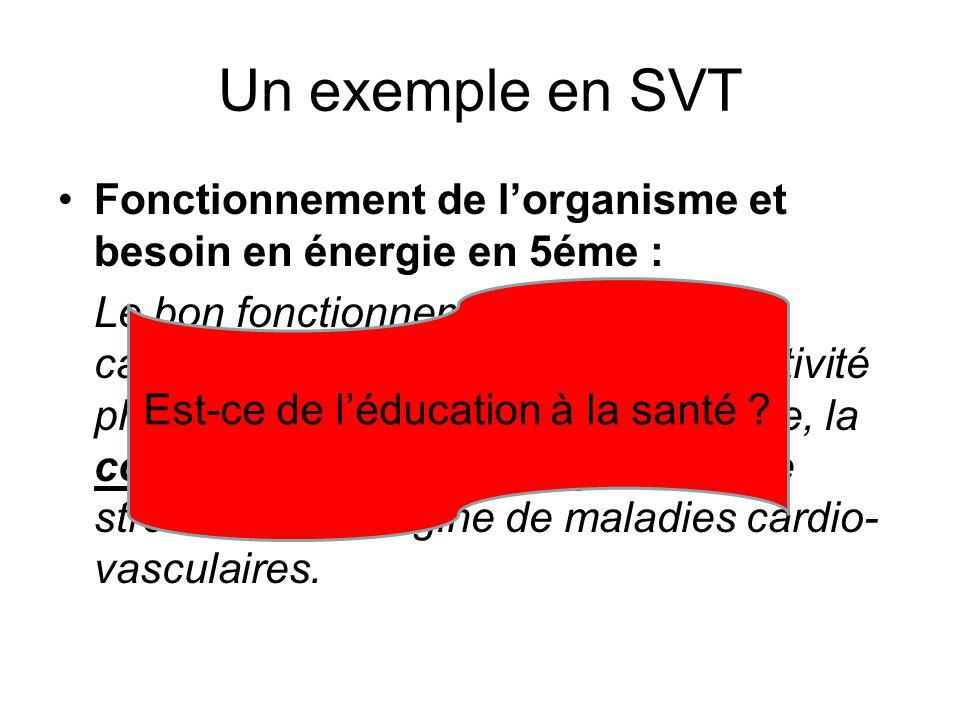 Un exemple en SVT Fonctionnement de l'organisme et besoin en énergie en 5éme : Le bon fonctionnement du système cardiovasculaire est favorisé par l'ac
