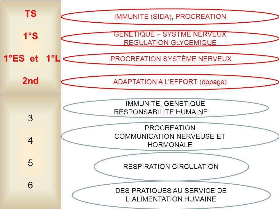 34563456 TS 1°S 1°ES et 1°L 2nd DES PRATIQUES AU SERVICE DE L' ALIMENTATION HUMAINE RESPIRATION CIRCULATION PROCREATION COMMUNICATION NERVEUSE ET HORM