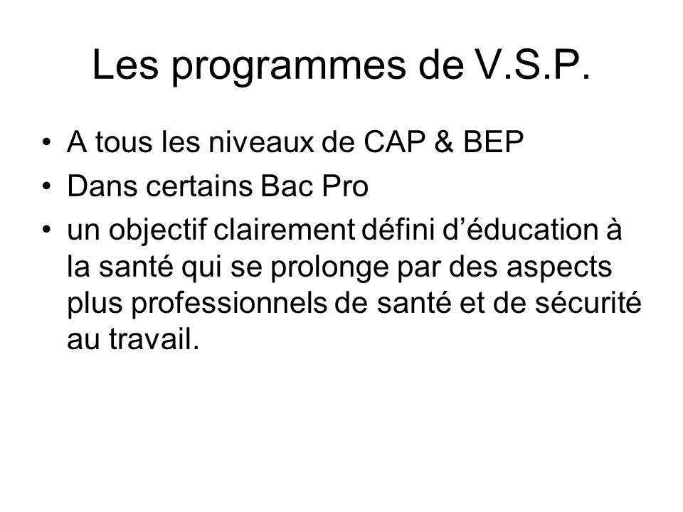 Les programmes de V.S.P. A tous les niveaux de CAP & BEP Dans certains Bac Pro un objectif clairement défini d'éducation à la santé qui se prolonge pa