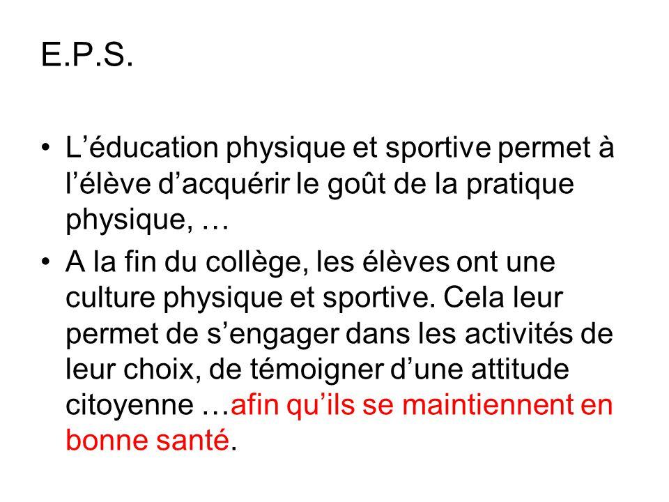 E.P.S. L'éducation physique et sportive permet à l'élève d'acquérir le goût de la pratique physique, … A la fin du collège, les élèves ont une culture