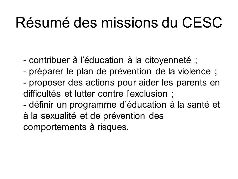 Résumé des missions du CESC - contribuer à l'éducation à la citoyenneté ; - préparer le plan de prévention de la violence ; - proposer des actions pou
