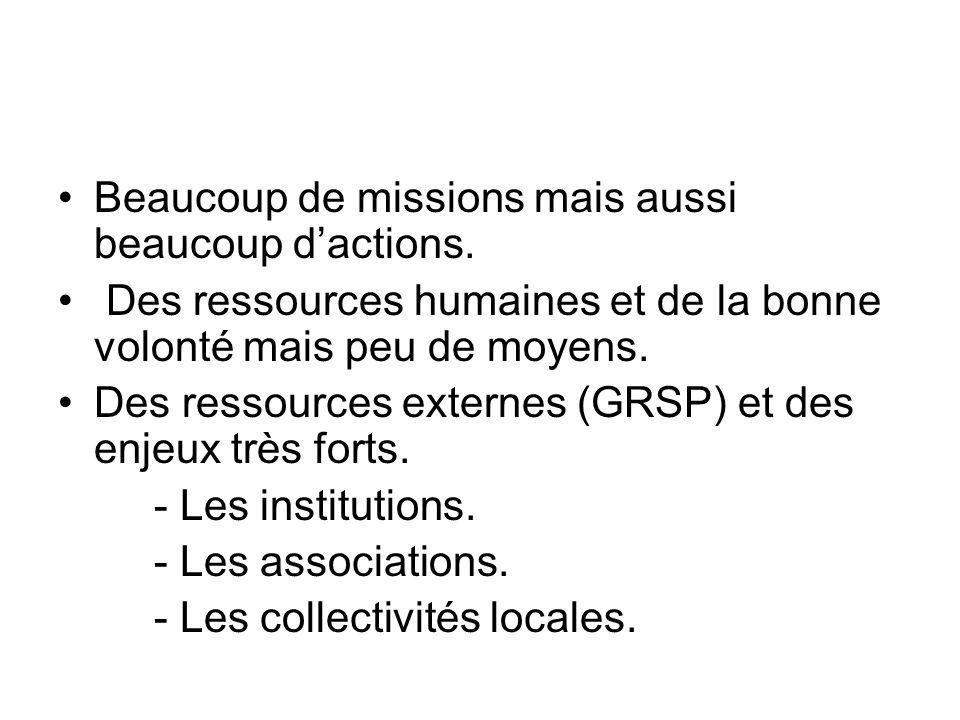 Beaucoup de missions mais aussi beaucoup d'actions. Des ressources humaines et de la bonne volonté mais peu de moyens. Des ressources externes (GRSP)