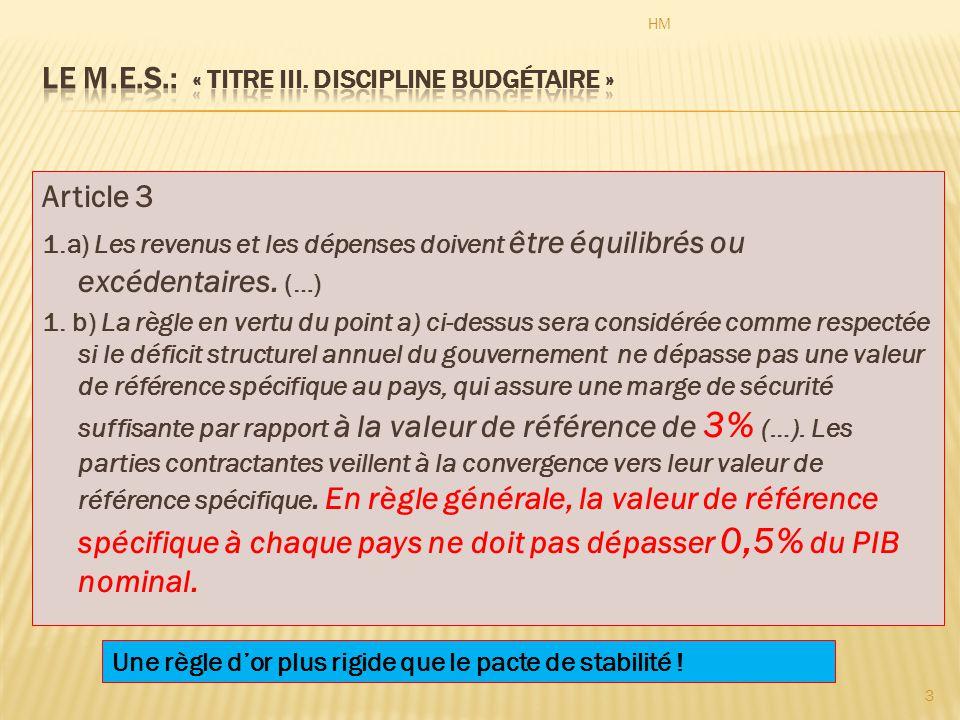 Article 3 1.a) Les revenus et les dépenses doivent être équilibrés ou excédentaires.