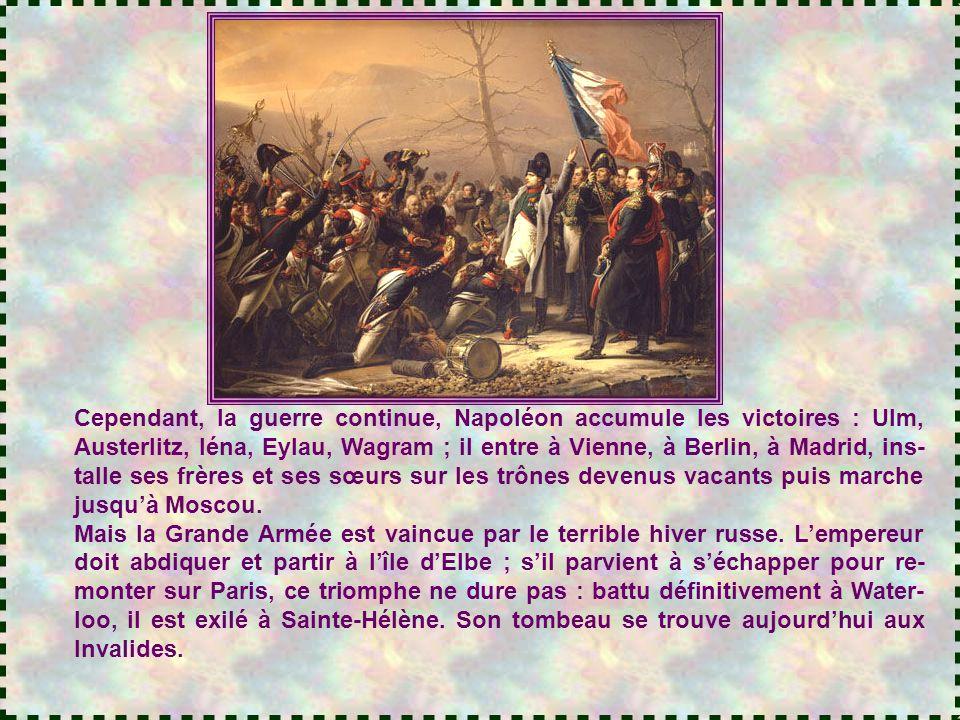 Sous le Directoire, Bo- naparte remporte plusieurs succès militaires, et il est nommé Premier consul, chef de la France. Il s'efforce de réconcilier l