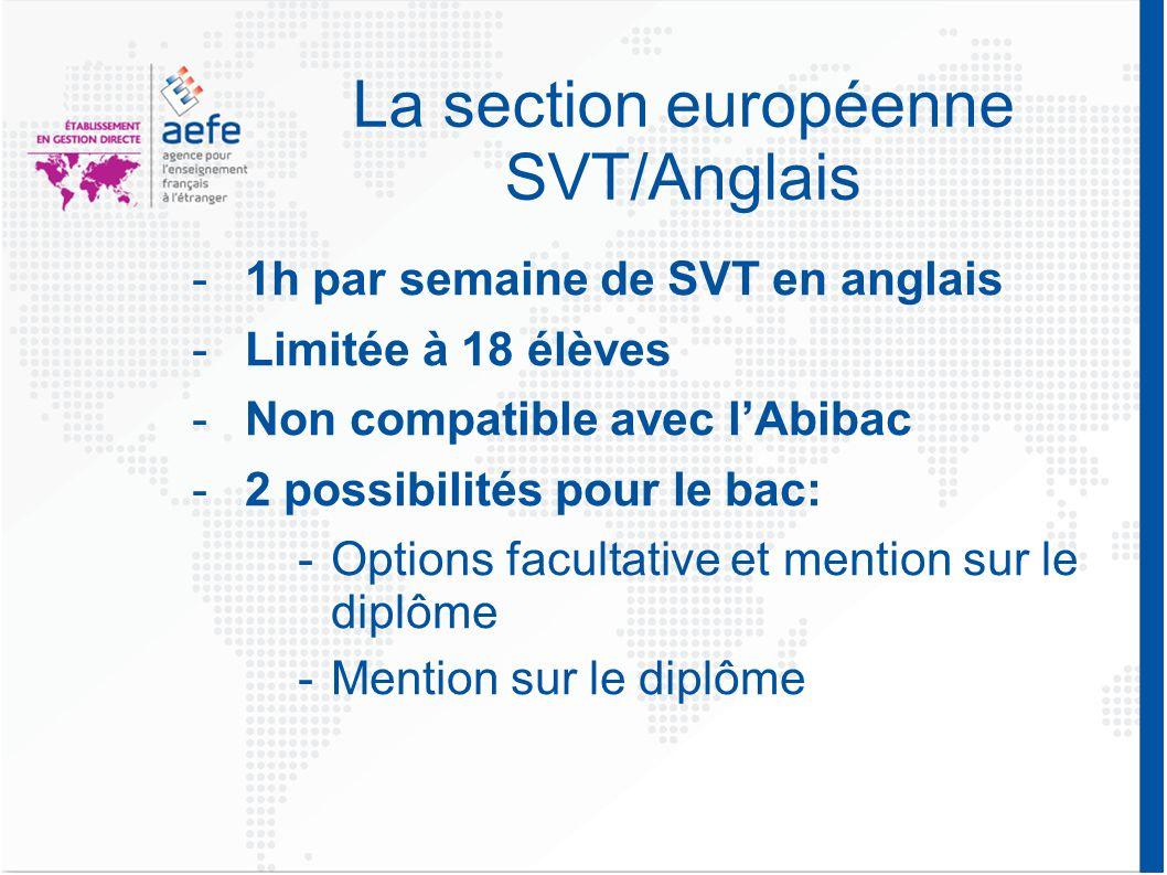 La section européenne SVT/Anglais -1h par semaine de SVT en anglais -Limitée à 18 élèves -Non compatible avec l'Abibac -2 possibilités pour le bac: -Options facultative et mention sur le diplôme -Mention sur le diplôme